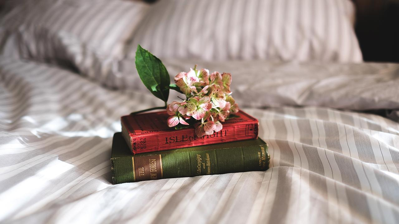 Flower on top of books