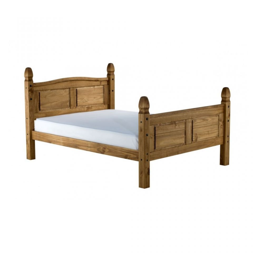 Corona Pine Wooden Bed - High Foot End