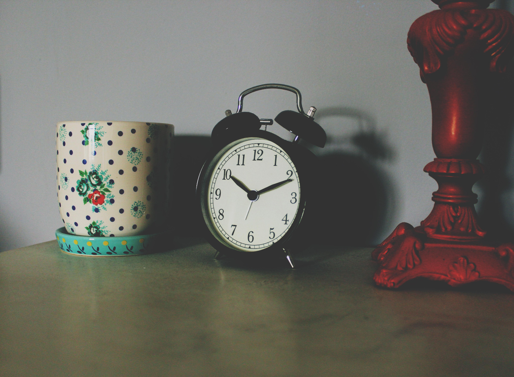 Mug and alarm clock